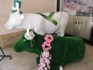Cows dressed up for St. Patrick's Day in front of the  JNTO Information Office.