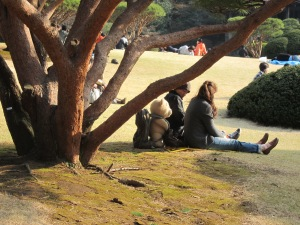 All three of them enjoying the fine weather