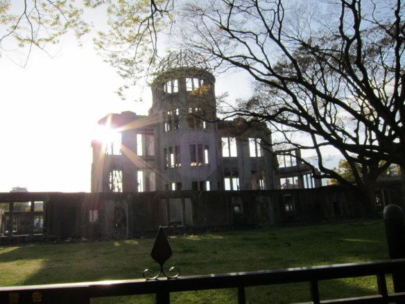 A-bomb dome. Remains as a memorial.