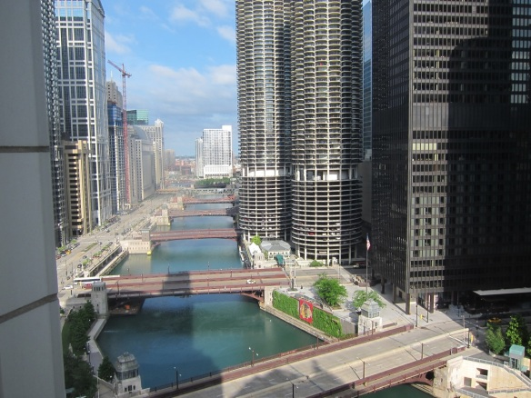 View of Chicago River from my hotel room