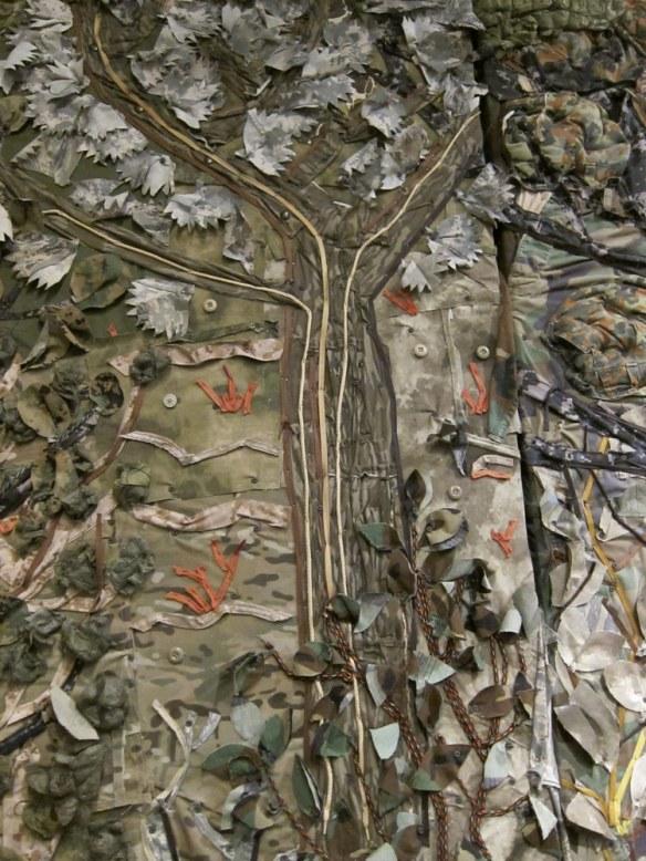 Zipper tree on a fabric-leaf wall
